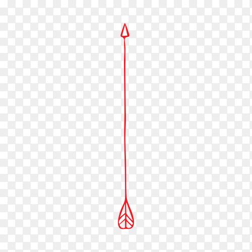 Red arrow illustration on transparent background PNG