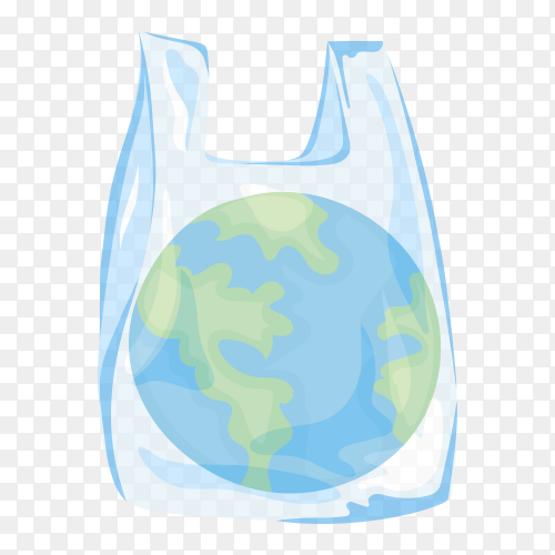 Planet Earth in plastic bag on transparent background PNG