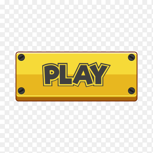 Play button icon in yellow color on transparent background PNG