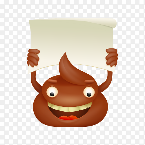 Poop emoticon cartoon character with paper banner on transparent background PNG