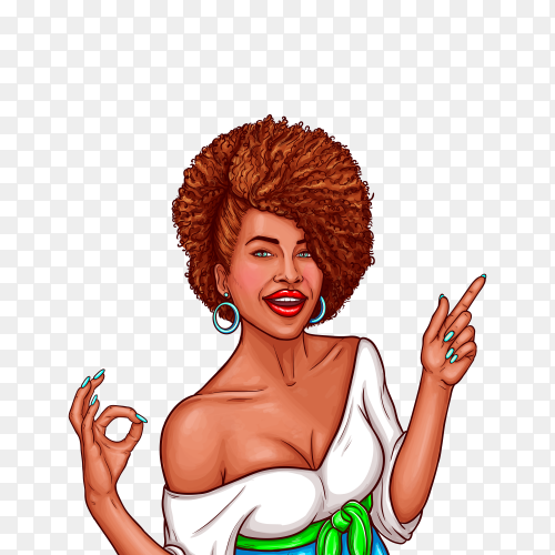 Pop art illustration of a black woman shows the OK sign and points the finger to the direction on transparent background PNG