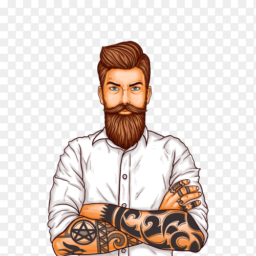 Pop art illustration of a brutal bearded man, macho with tattoo on transparent background PNG