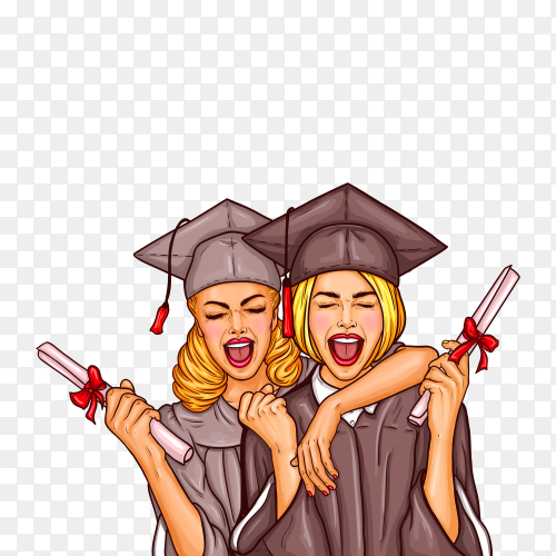 Pop art illustration of a two excited young girls graduate student in a graduation cap and mantle with a university diploma in their hands on transparent background PNG