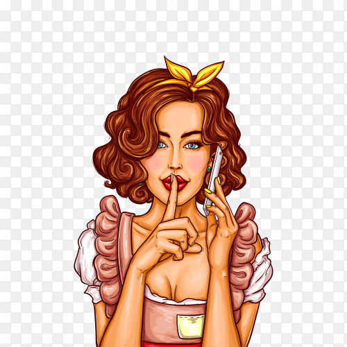 Pop art illustration of a young girl talking on a mobile phone on transparent background PNG