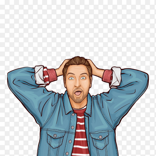 Pop art vector illustration of hipster man with wow surprised face expression on transparent background PNG