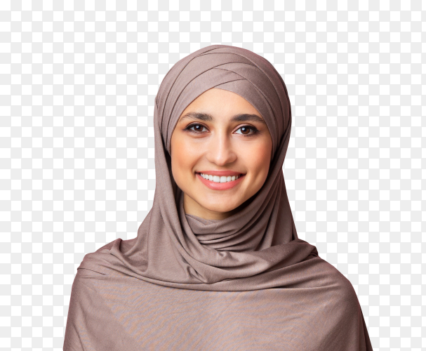 Portrait of muslim woman in hijab smiling and looking at camera isolated on transparent background PNG
