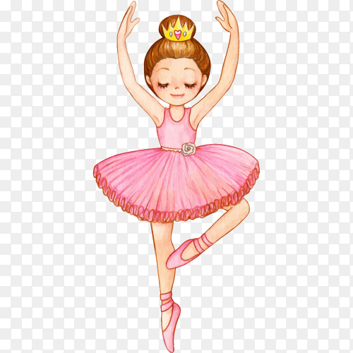 Princess ballerina with golden crown on transparent background PNG