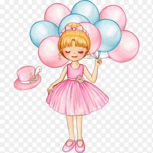 Princess ballerina with pink balloons on transparent background PNG
