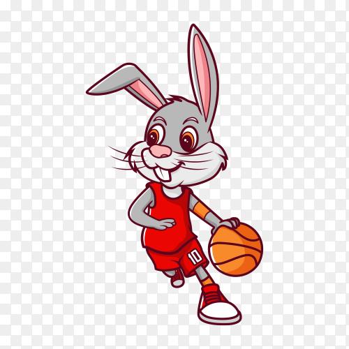 Rabbit dribbling basketball, cartoon illustration character on transparent background PNG