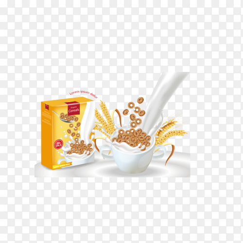 Realistic vector. 3d illustration with a milk splash and chocolate rings pouring into the bow on transparent background PNG