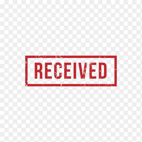 Received Stamp Rubber Grunge on transparent background PNG