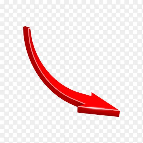 Red arrow sparkling on transparent background PNG