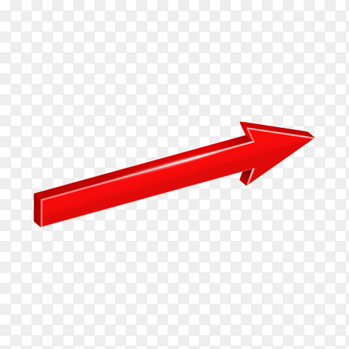 Red direction arrow isolated premium vector PNG