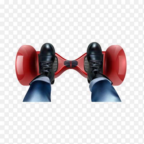 Riders feet in black shoes on red two-wheeled self-balancing gyro scooter realistic top view on transparent background PNG