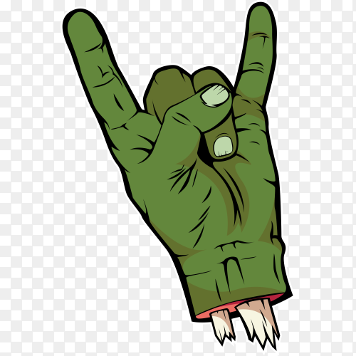 Rock n roll zombie hand on transparent background PNG