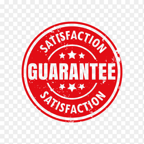 Satisfaction guaranteed sign isolated on transparent background PNG