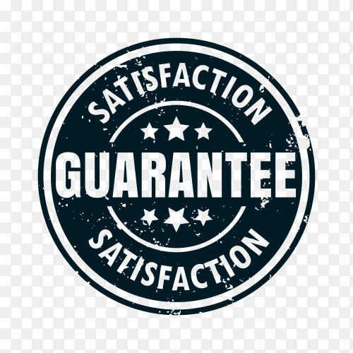 Satisfaction guaranteed sign on transparent background PNG