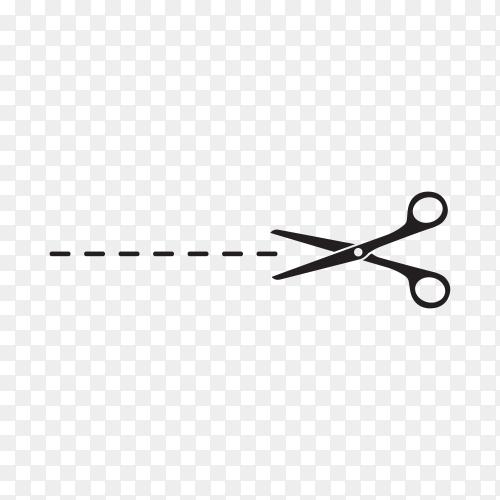 Scissor symbol illustration on transparent background PNG