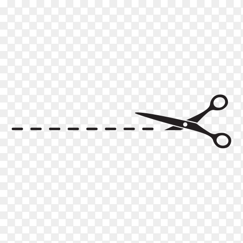 Scissors with cut line with Flat style on transparent background PNG