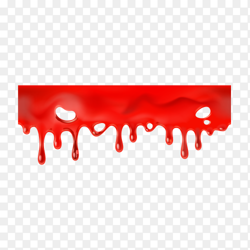 Seamless dripping blood isolated on transparent background PNG