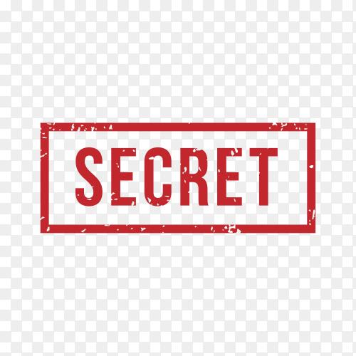 Secret Stamp Rubber Grunge on transparent background PNG
