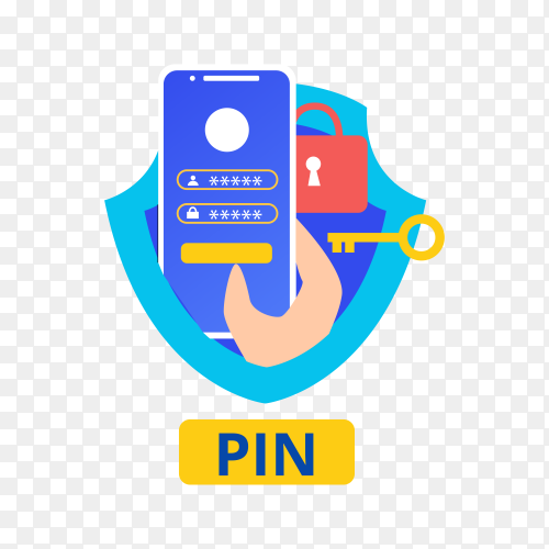 Security pin or personal identification number password smartphone and shield hand icon on transparent background PNG