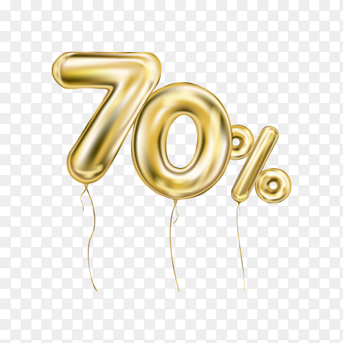 Seventy percent discount sign made of golden inflatable balloons isolated on transparent background PNG