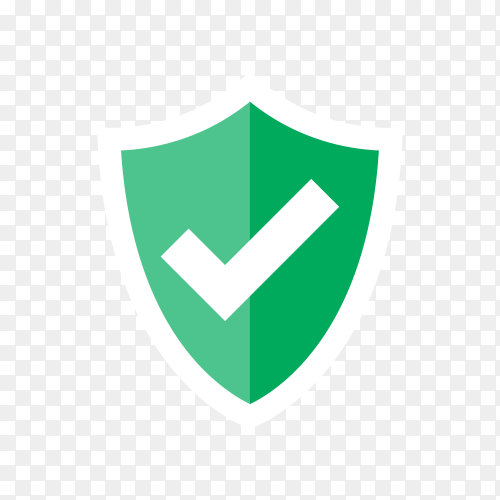 Shield and check mark. Approved . Green shield with check mark on transparent background PNG