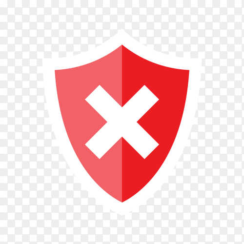 Shield and check mark. Rejected. Red shield with x mark on transparent background PNG