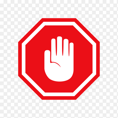 Simple red stop road sign with big hand symbol or icon on transparent background PNG