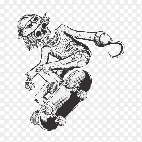 Skull skate with pirate hook on his hand drawing on transparent background PNG