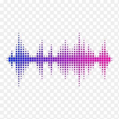 Sound wave. Frequency audio waveform, music wave HUD interface element, voice graph signal premium vector PNG