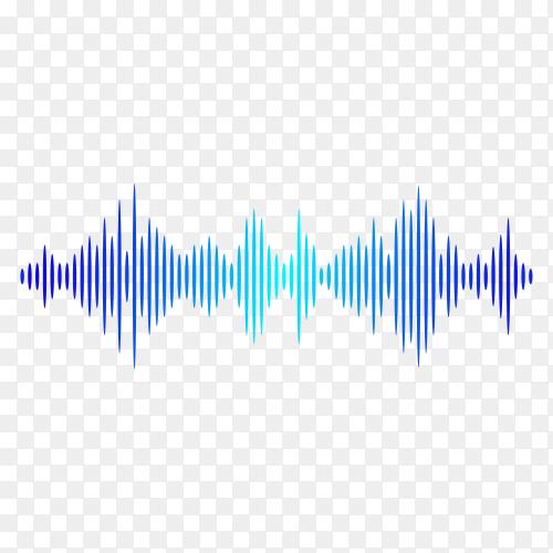 Sound wave pattern. Equalizer graph design. Abstract blue digital waveform isolated on transparent background PNG