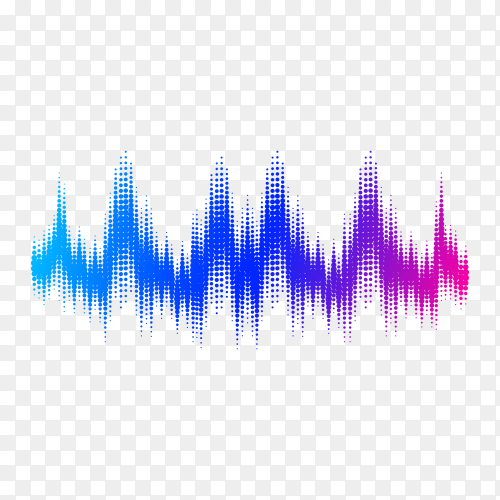 Sound wave. Frequency audio waveform, music wave HUD interface element, voice graph signal on transparent background PNG