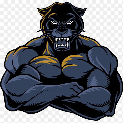 Strong panther on transparent background PNG