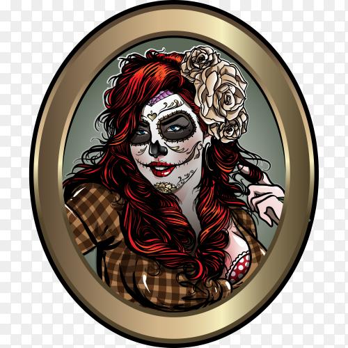 Sugar skull Girl on transparent background PNG
