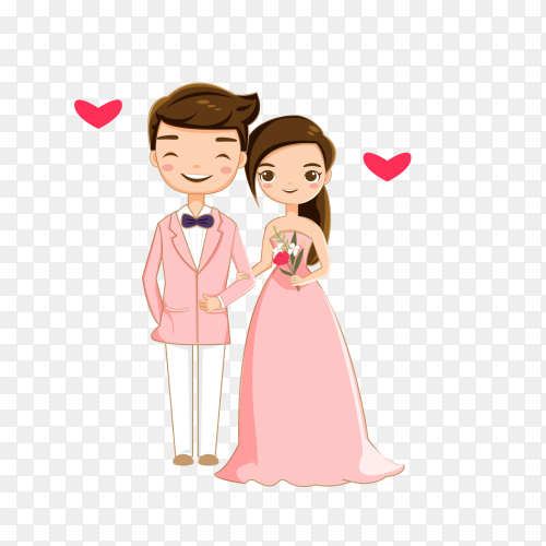 Sweet Romantic Couple on transparent background PNG