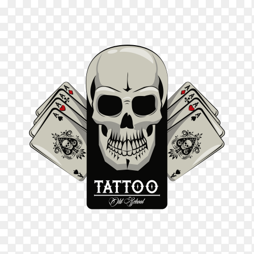 Tattoo with poker cards and skull drawing design on transparent background PNG