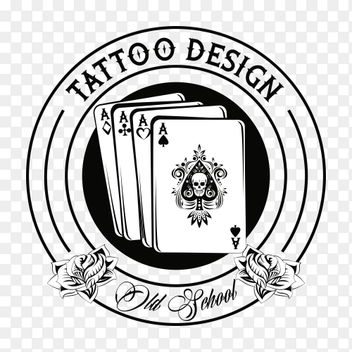 Tattoo with poker cards drawing design on transparent background PNG