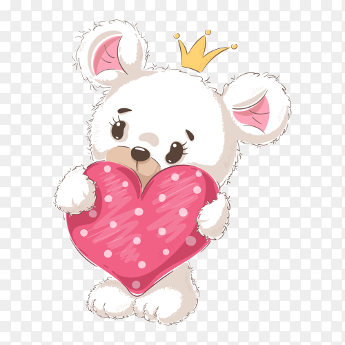 Teddy Bear with heart on transparent background PNG