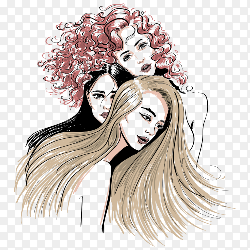 Three different hair style women sketch illustration on transparent background PNG