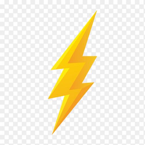 Thunderbolt design illustration isolated on transparent background PNG