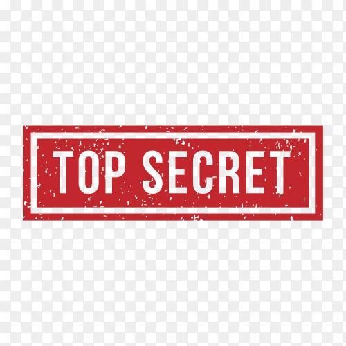 Top secret Stamp Rubber Grunge on transparent background PNG