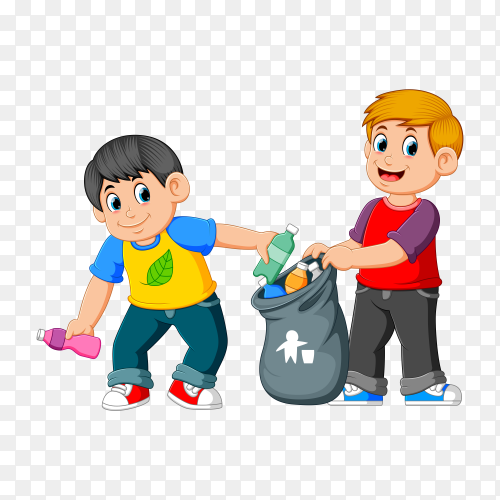 Two Boys Collecting Rubbish on transparent background PNG