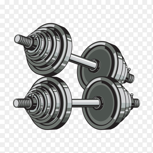 Two gray dumbbells on transparent background PNG