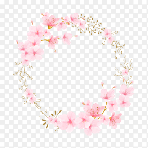 Watercolor floral with cherry blossom frame on transparent background PNG