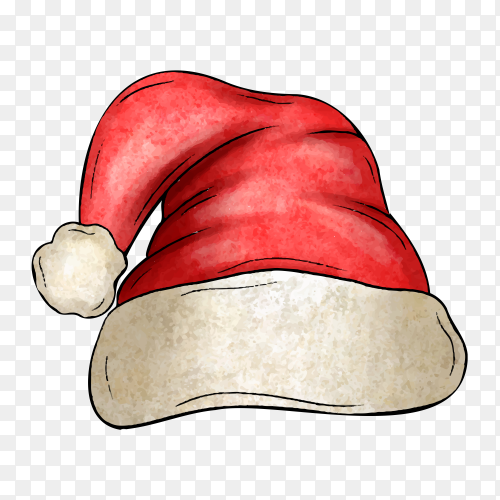 Watercolor Santa Claus hat illustration on transparent background PNG