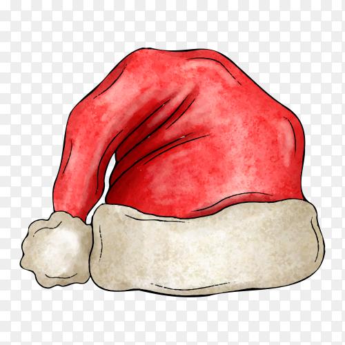 Watercolor Santa Claus hat on transparent PNG