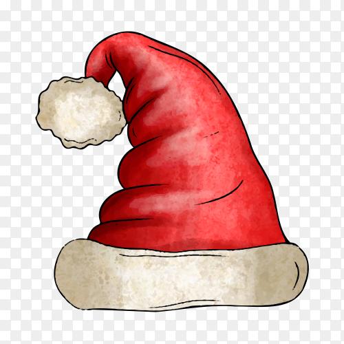 Watercolor Santa Claus hat premium vector PNG