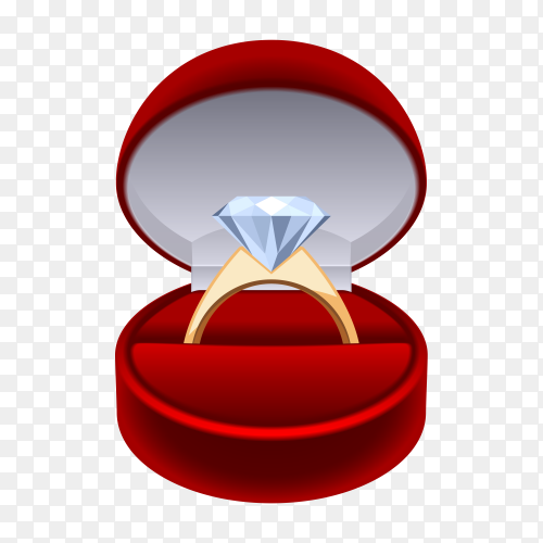 Wedding ring in red gift box on transparent background PNG